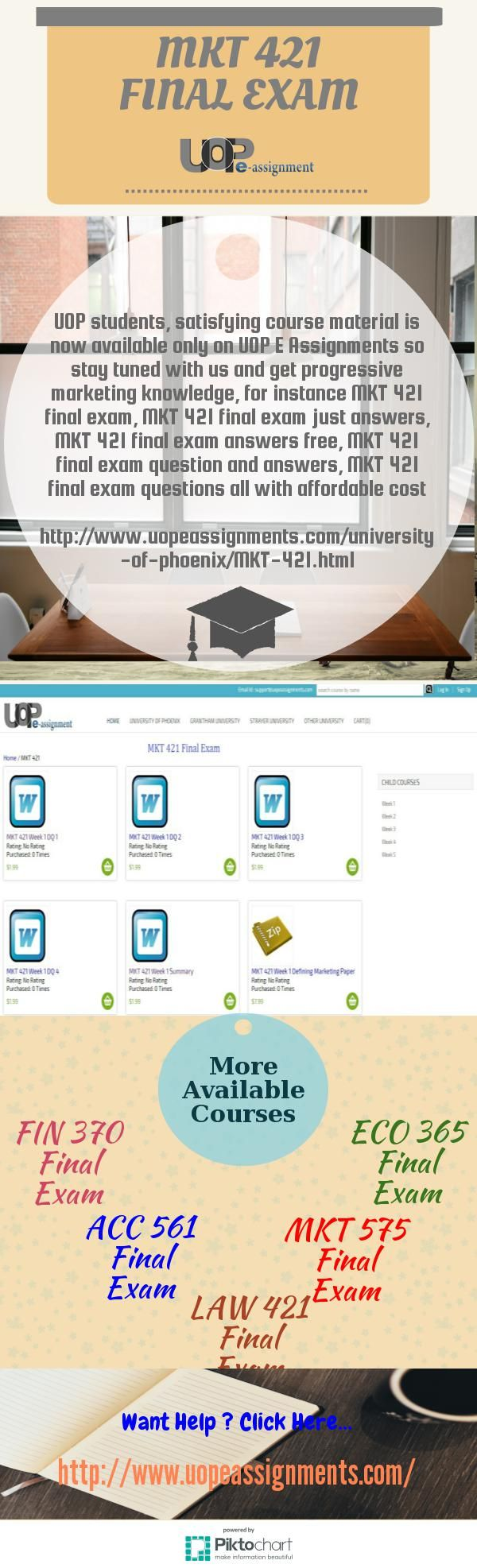 UOP E Assignments is the number one online educational tutorial for phoenix university students inside the USA where you can find 100% accurate final exam solution set by skilled unit of UOP E Assignments. take study material MKT 421 final exam solutions UOP MKT 421 final exam, MKT 421 final exam answers free, MKT 421 final exam question and answers, MKT 421 final exam 2016 and many more.  http://www.uopeassignments.com/university-of-phoenix/MKT-421.html