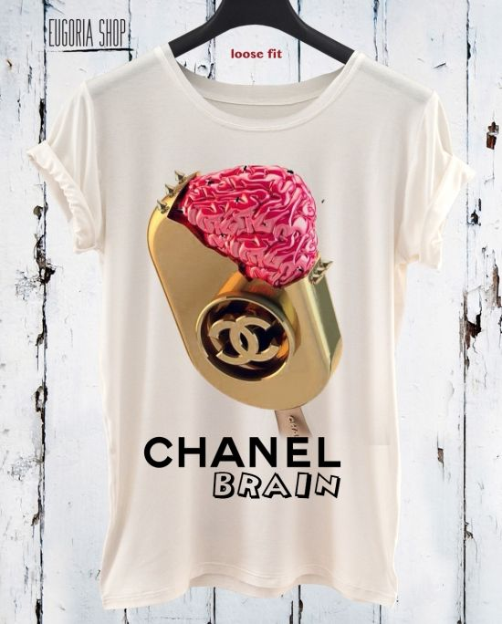 chanel brain ice cream pop art t-shirt, anishar t-shirt, eugoria t-shirt, fashion skull t-shirt