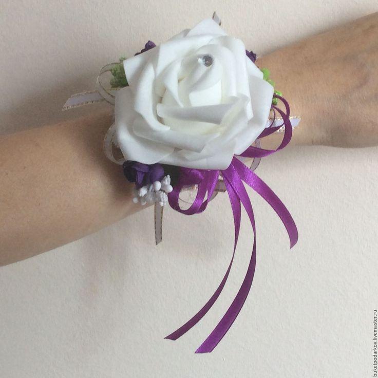 """Купить Браслеты для подружек невесты"""" Белая роза """" ( фиолетовая лента )…"""