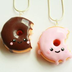 donut kawaii necklace,kawaii necklace,donut jewelry,kawaii polymer clay charms,food jewelry
