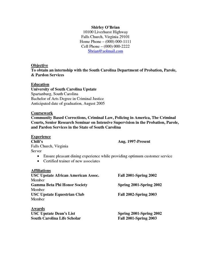 Resume For Criminal Justice Internship