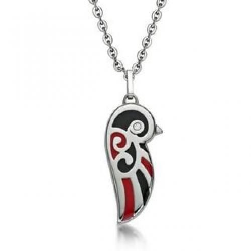Black and Red Enamel Lovebird Necklace Red - One Size