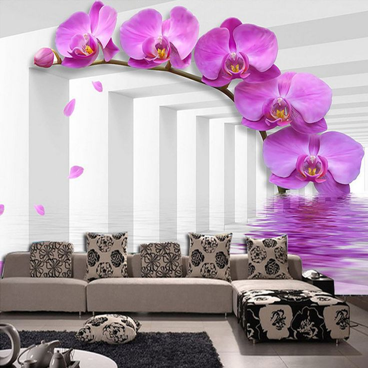Custom Size Creative Art 3D Purple Flower Photo Mural Wall Paper For  Bedroom Living Room Sofa