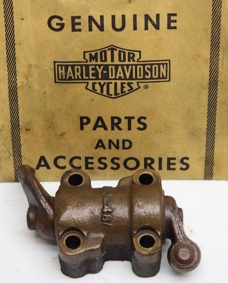 #harley OEM Harley 48-65 Panhead Cylinder Head Rear Rocker Arm Block Assembly 300-48 please retweet