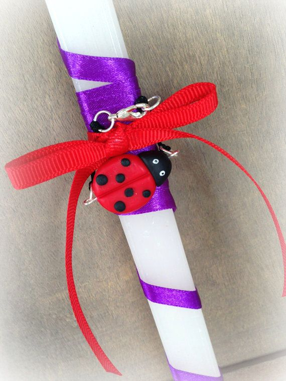 Easter Candle with a Ladybug Bracelet _ Easter Collection _ Polymer clay by MarisAlley on Etsy