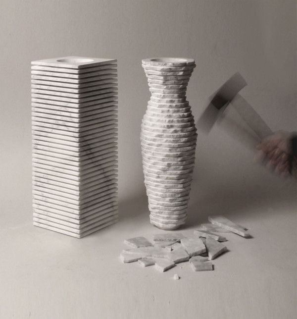 Introverso 2, has dual personalities. Designed by Paolo Ulian and Moreno Ratti, the vase is made of solid marble that's cut to reveal slats.
