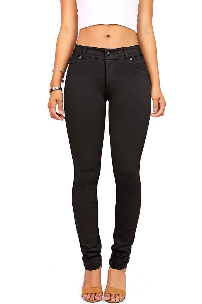 Womens Jeggings Tight Fitted Stretchy Spandex Skinny Pocket Zipper Pants Sml
