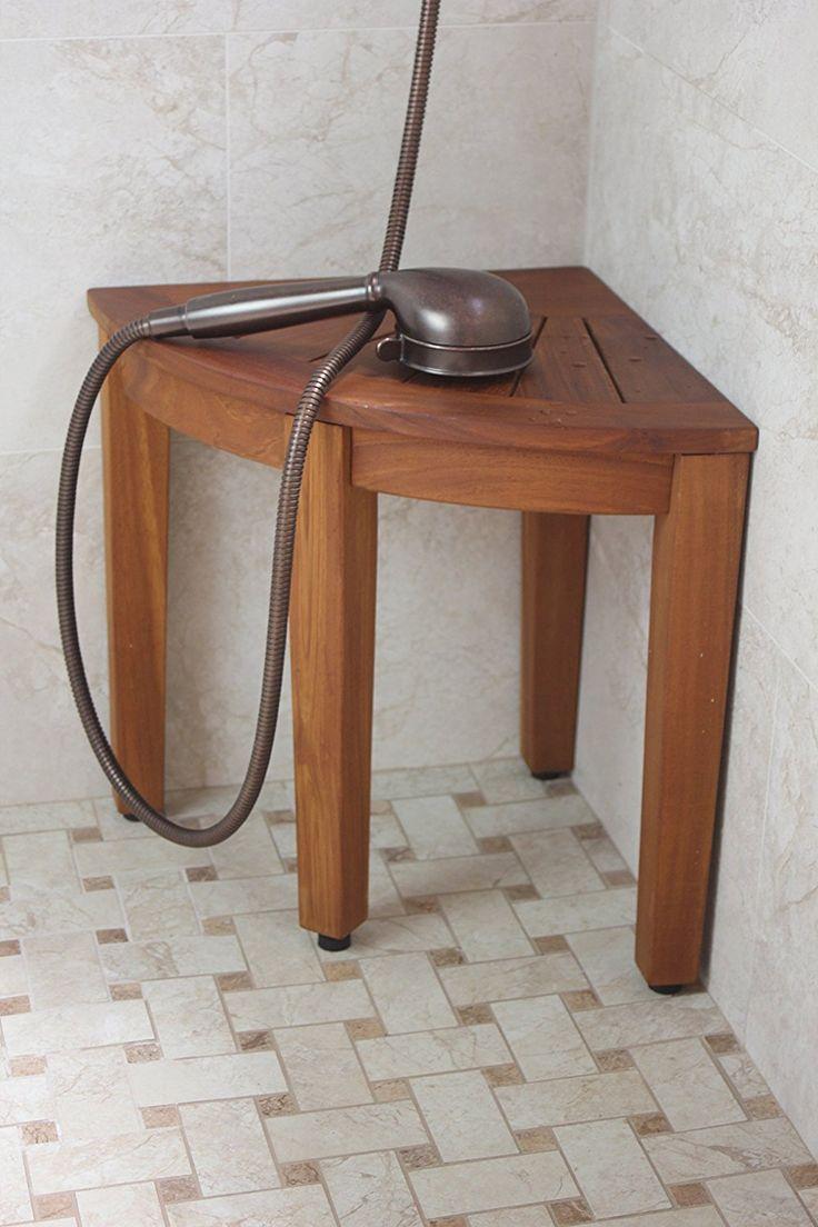 155 teak shower bench from the corner