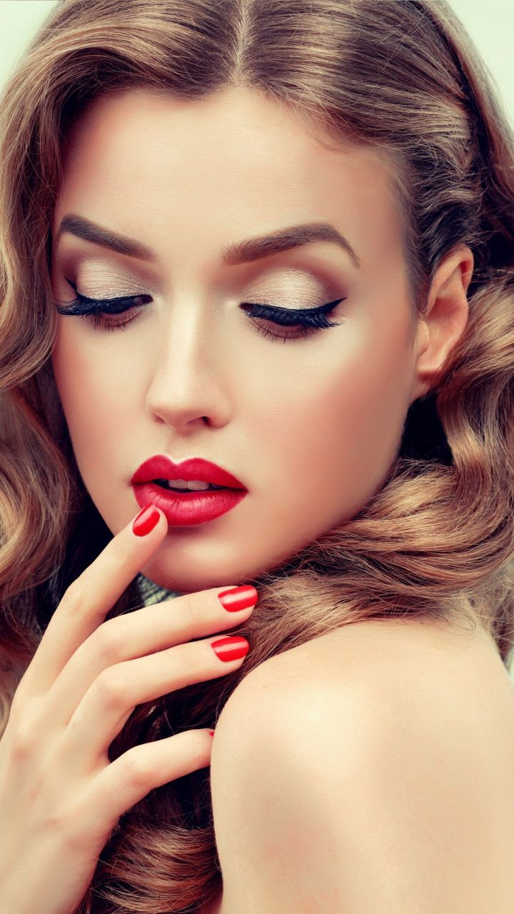 Makeup, red lips, pretty woman, 720x1280 wallpaper (With