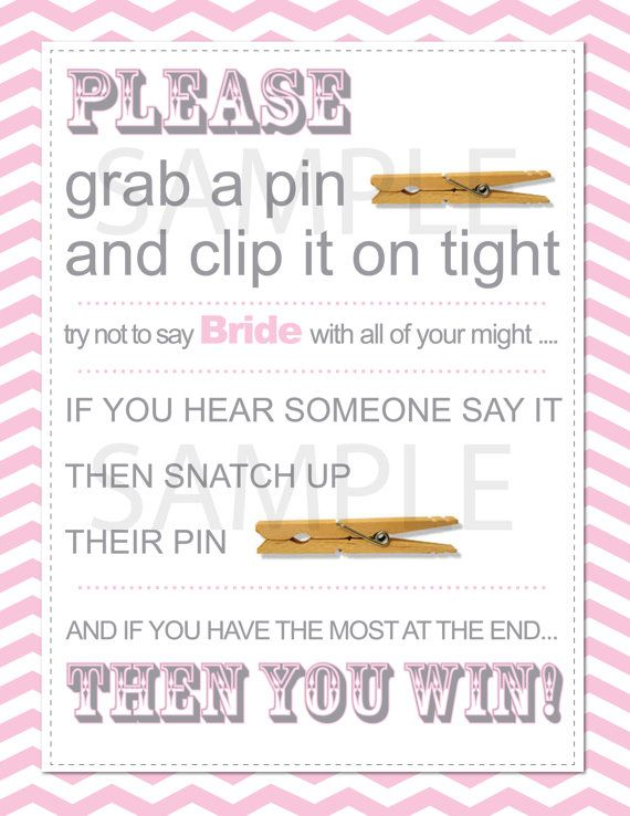 Cute And Fun Bridal Shower Or Bachelorette Party Game Clothespin Sign Printable