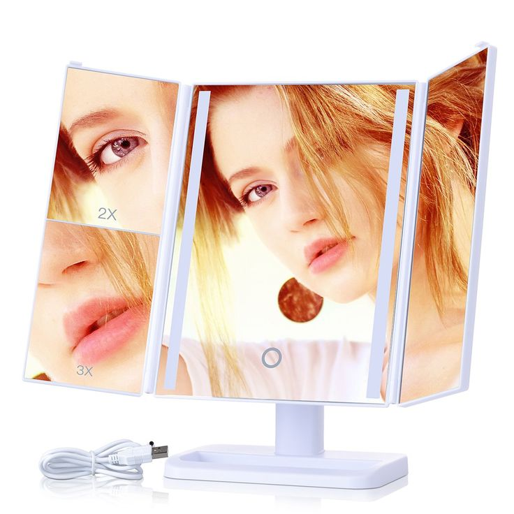 KINDEN Lighted Makeup Mirror - 24 LED Light Larger Size, 2X and 3X Magnification, 180°Rotation, Dimmable, Foldable, Back Stand, 4 AA Batteries(not include) or USB Charging Touch Screen. 【★24 LED WITH TOUCH DIMMABLE LIGHTS★】: 24 LED bulb with ON/OFF touch button, allow you to do make-up in the dark or daylight. Long press to dim or brighten the lights. 【★3 MAGNIFICATION MODES★】: 3X/2X/1X magnified mirror all in one cosmetic mirror, great for applying eyeliner, mascara, grooming brows, and...