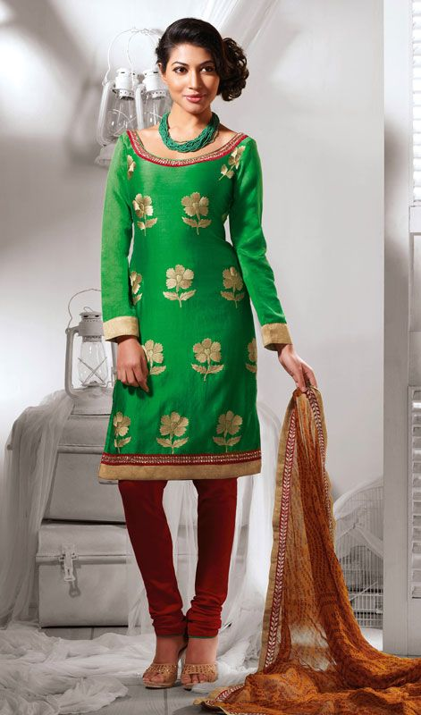 Green Shade Cotton Silk Churidar Dress Price: Usa Dollar $108, British UK Pound £64, Euro80, Canada CA$117 , Indian Rs5832.