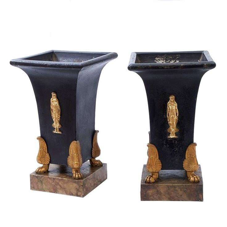Pair Of Empire Tole And Gilt Bronze Jardinieres, French, Circa 1820