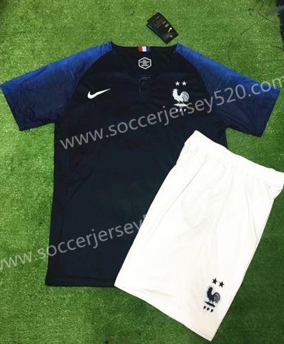 2018 World Cup France 2 Stars Home Dark Blue Soccer Uniform  43923904f