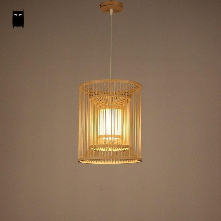 Bamboo Lantern Shade Pendant Light Fixture Rustic Ceiling Lamp Dining Table Room #Soleilchat #Asian