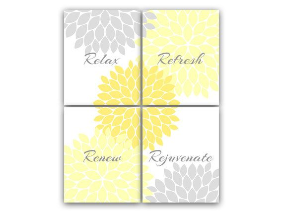 "Yellow & Gray Bathroom Wall Art ""Relax Refresh Renew Rejuvenate"""