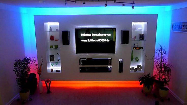 http://www.lichttechnik3000.de Tv Wand mit indirekter Beleuchtung von Lichttechnik3000. RGB-LED Strip und Dream Color Digitaler LED Strip. Die Wand besteht k...