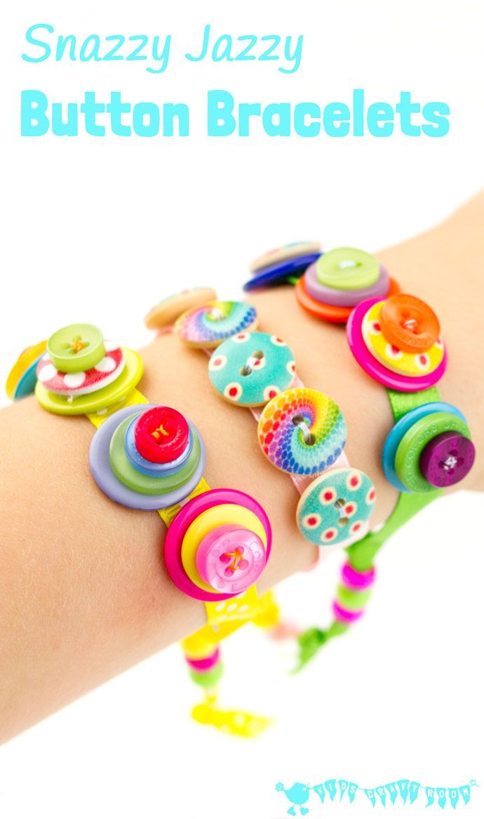 snazzy jazzy button bracelets are a great sewing project for kids and for fun loving grown