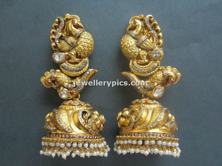 Gold Nakshi jhumka designs by Tibarumal jewellers - Latest Jewellery Designs