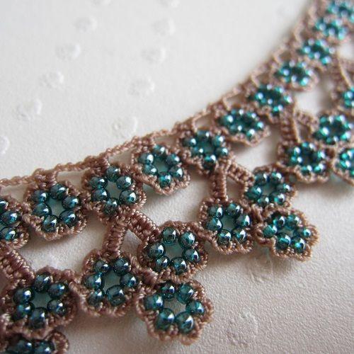 oya beads crochet necklace Turkish Oya Lace