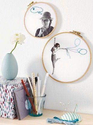 DIY | Dekoideen für Fotos | Fotorahmen aus Stickrahmen | runde Fotorahmen | Bilderrahmen | Empfohlen von www.himmelreich-fotografie.de