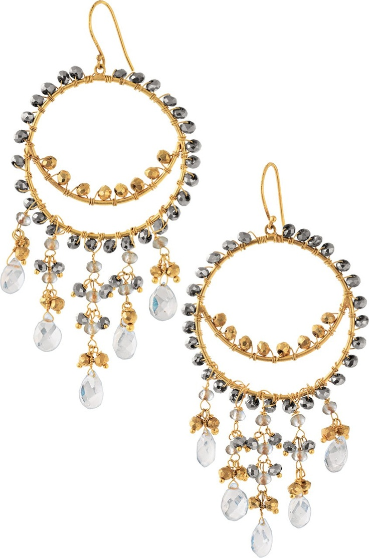 Glass Beads In Hues Of Gold And Pyrite Are Delicately Hand Wrapped On A 12k  Gold Beaded Chandelierchandelier Earringschandelierswhite