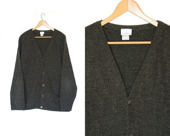Vintage cardigan sweater. Dark gray sweater. by LiveToLiveVintage