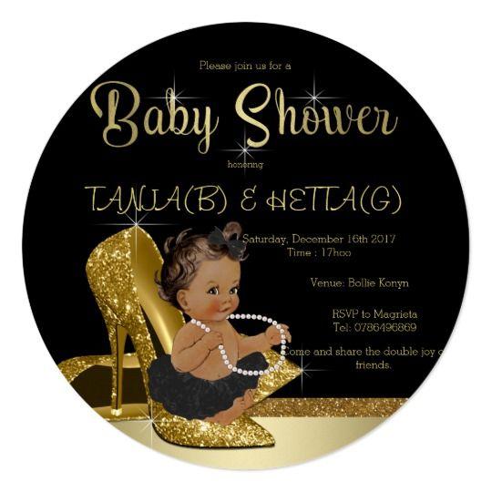 Black Gold High Heel Shoe Ethnic Girl Baby Shower Card