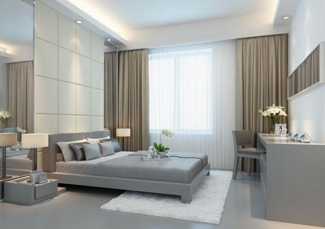 modernes schlafzimmer grau braun weiße gardinen braune vorhänge