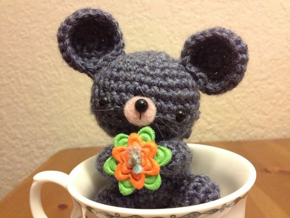 Miniscule Timid Mouse Amigurumi Crochet by FabricTransformation, $5.50