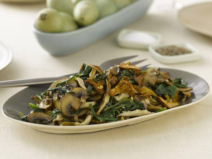 Sauteed Wild Mushrooms with Spinach Recipe
