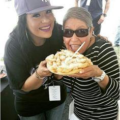 Suzette and her mom at Fiesta de la Flor 2015