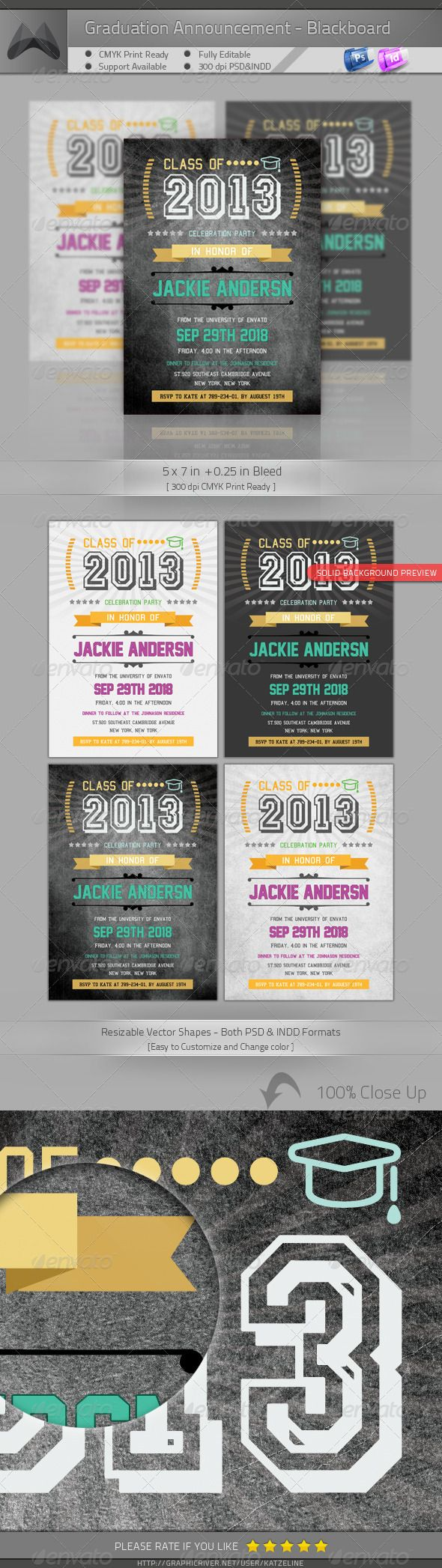 Graduation Announcement  Invitation - Blackboard