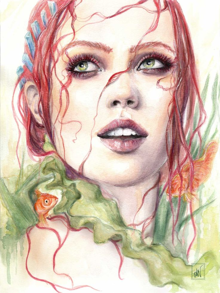 """Watercolour painting """"Portrait of the good-natured mermaid"""" - IG/FB: alicianilssoncreates"""