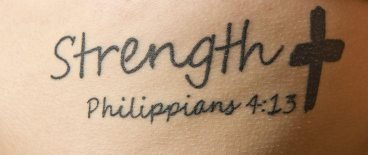 "Women's soccer player Kayla Fouchie shows off her ink of ""Strength"" along with her favorite bible verse, Philippians 4:13. It reads: ""I can do all things through Christ who strengthens me."""