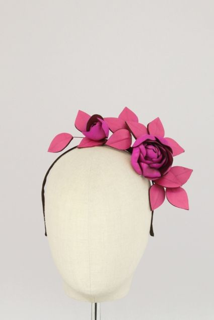 Budding Side Floral Leather Headpiece | Reny Kestel Millinery