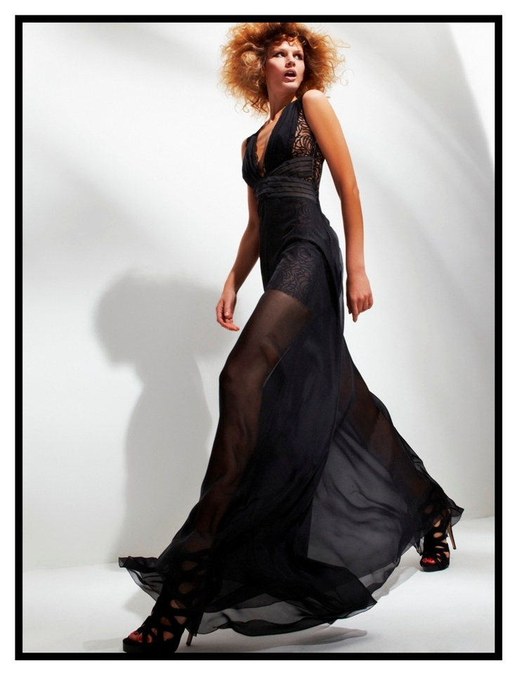 Black silk mousseline, organza and lace dress