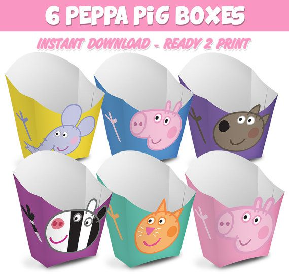 6 Popcorn Box Peppa Pig Ready to print Instant by Migueluche