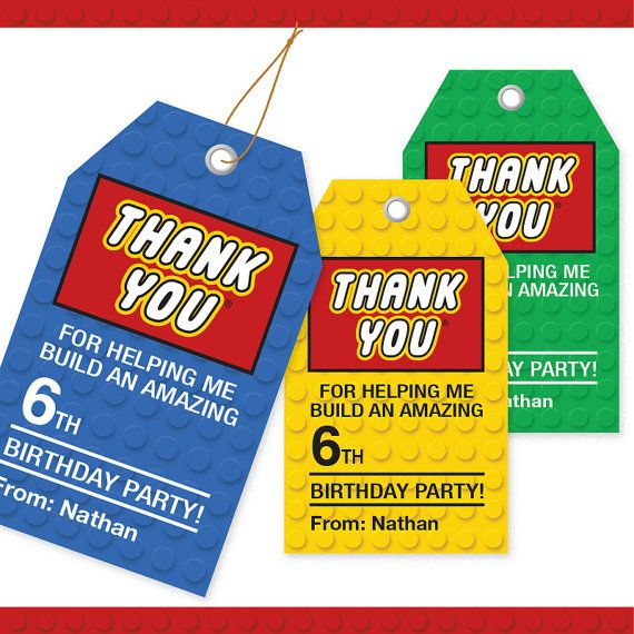 LEGO Inspired Building Block Thank You Tags - 3 Colors / Printable / Gift Tag / Personalized