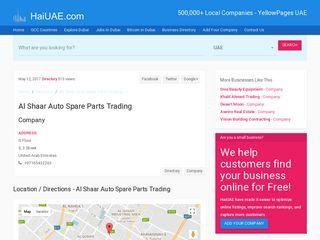 Al Shaar Auto Spare Parts Trading Company 5, 3 Street G Floor  |  HaiUAE.com - Complete information about Dubai, Local Business pages Directory, UAE company listing, yellow pages, telephone directory. Find a business near you. Expats Guide to Dubai, Ajman, Alain, Abu Dhabi, Fujairah, Sharjah, Ras al khaimah, Umm Al Quwain, United Arab Emirates