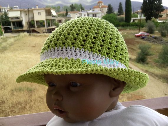 Crochet summer hat cotton hat handmade hat summer by CrochetMaryGR