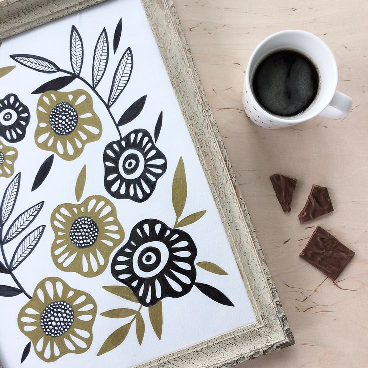 Coffee moment. Coffee and drawing. My daily drawings. Botanical. Illustration. By Johanna Sandberg.