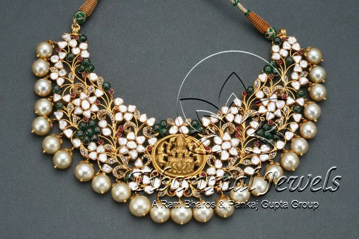 Uncut diamond necklace with pearl drops