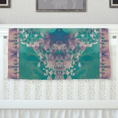 """KESS InHouse Ashby Blossom Teal Throw Blanket Size: 60"""" L x 50"""" W"""