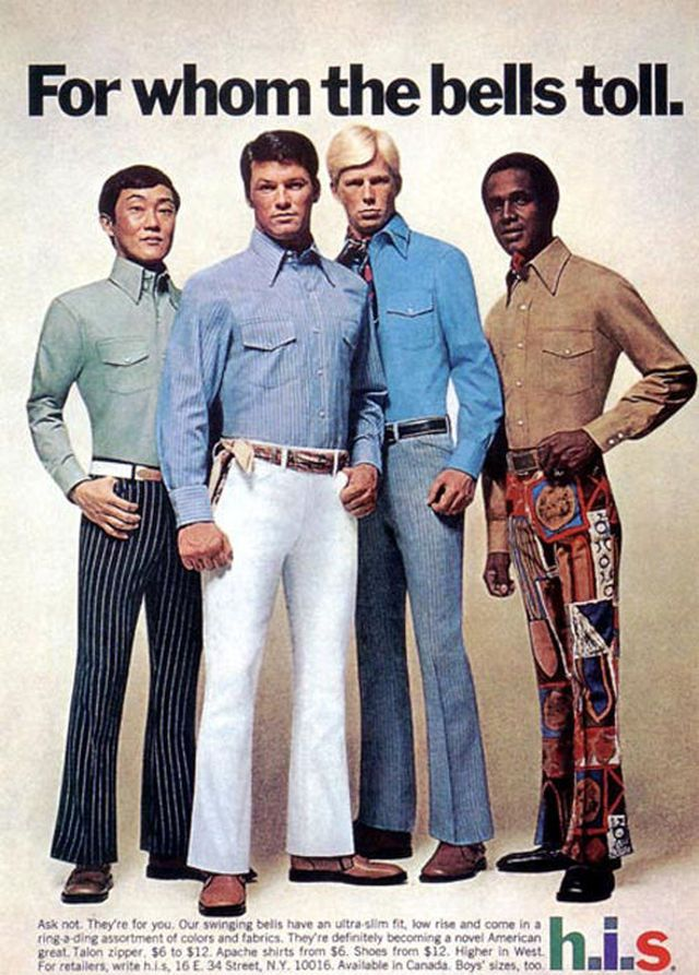 'For Whom the Bells Toll' fashion advertisement for men, from around 1974.