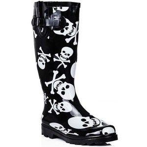 Spylovebuy PIRATE Flat Skull and Bone Festival Wellies Knee High Rain Boot Wellington Boots