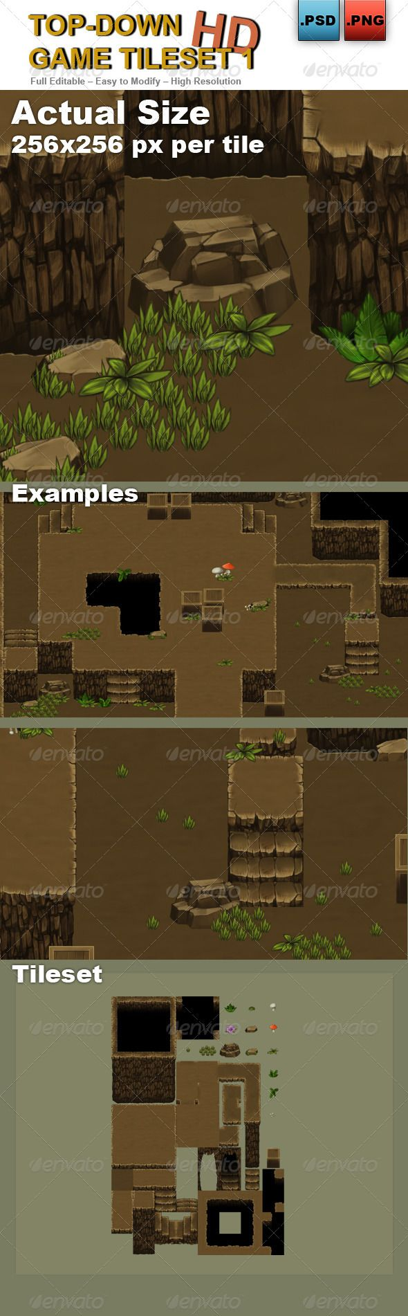 Top-Down Game Tileset 1 HD