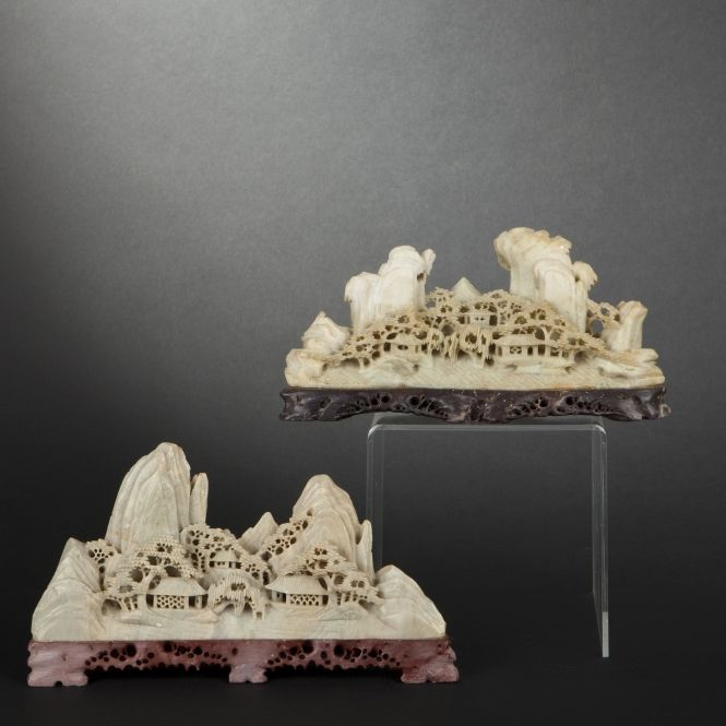 Two soapstone groups. China, Early 20th Century #expertissim