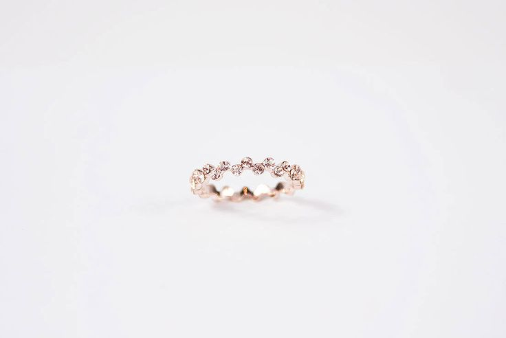 Flower Ring with Nude Swarovski Elements in 18k Rose Gold Plated - Golden Eight
