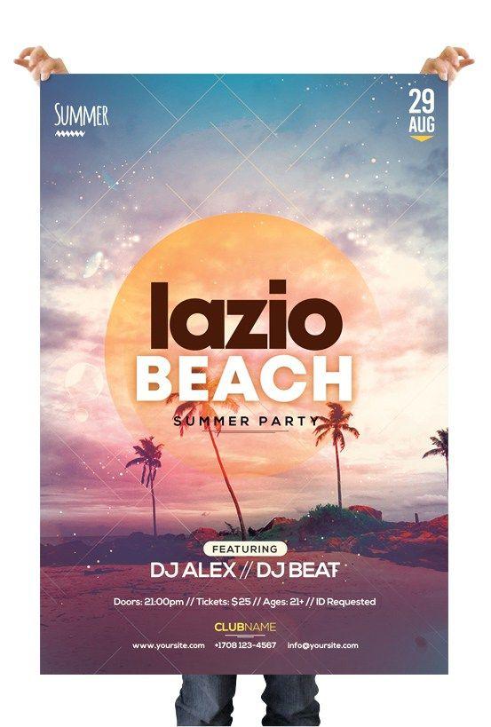lazio beach freebie summer psd flyer template free psd flyers